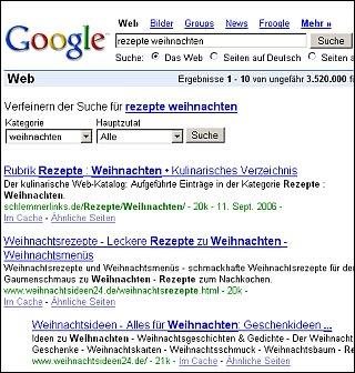 Recetas de cocina en Google