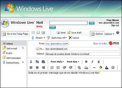 Escribiendo mensajes en Windows Live Mail