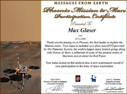 Certificado - Tu nombre en Marte
