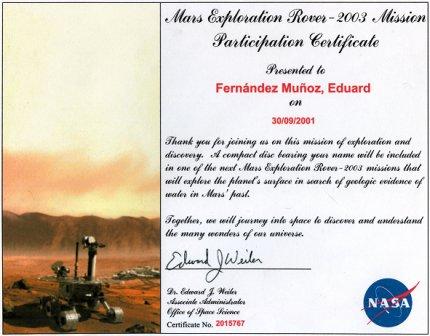 Certifciado de tu nombre a Marte en 2001