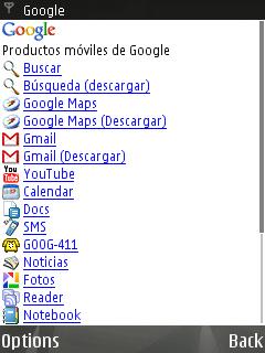 Menú de descarga de Google Search