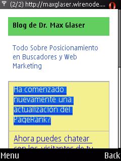 Página principal del blog en la versión móvil
